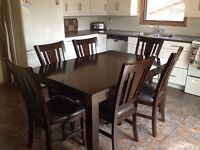 Espresso dining room set with 6 chairs(includes built in leaf)