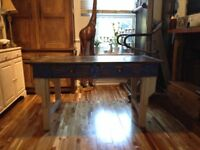 Rustic reclaimed wood table with two drawers