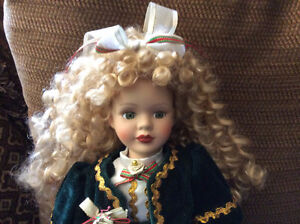 Gorgeous Porcelain Doll with Long Blond Ringletts