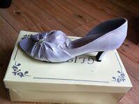 Silver Satin Court Shoe