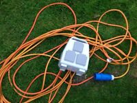 20 metre 3 plug camping conversion socket perfect condition