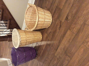Wicker Baskets and Metal Basket