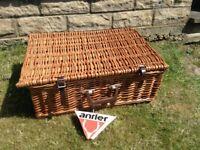 Vintage Antler Wicker Picnic Basket