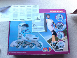 Kids adjustable rollerblades with protective pad combo
