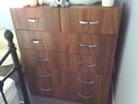 Bedroom set, large chest of drawers and two bedside drawer units