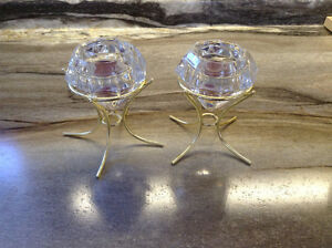 Crystal tea light candle holders with gold stands