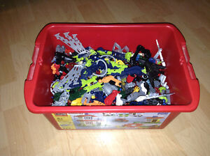 Box of Many Lego Bionicle Parts.