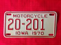 1970 Motorcycle license plate from Iowa