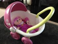 My First Dolls Pram & Doll in Good Condition