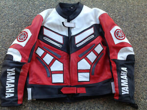 Yamaha leather street jacket red white black racing colour