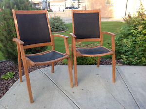 Wood and woven plastic chair