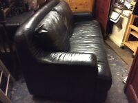Black Leather Italian Sofa / 3 Seater : Free Glasgow delivery