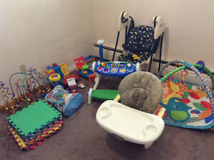 Baby stuffs : swing,feeding table,playing mat,toys