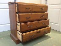 Antique pine 4 drawer chest