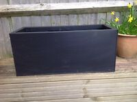 Zinc galvanised black 70cm trough planter