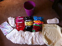 Cloth diapers, incl. inserts, wet bag, 2 pail liners and pail
