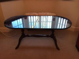 Glass top Mahogany coffee table