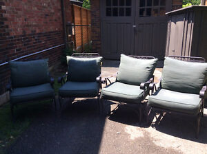 Deep seating - set of 4 aluminum / steel chairs