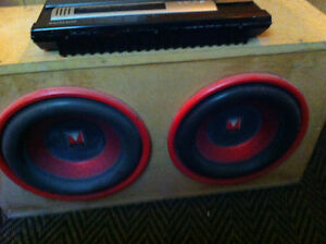 12 inch subs in box with amp