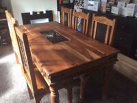 Dinning wooden Table with 6 chairs