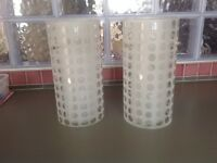 2 Glass cylinder pendant lamp shades