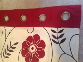 """NEXT Ready-Made Fully Lined Eyelet Curtains, Large Red Flower/Poppy Design, Both Pairs 90"""" Drop, VGC"""