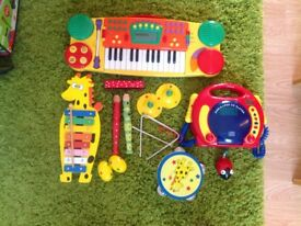 Toy Musical Instruments,CD Player and Piano