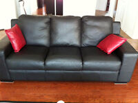 Complete living room set, real leather...
