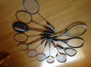 Various sports rackets - tennis, squash, racquetball