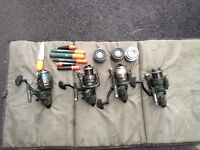 4 x Matching Carp/Pike Baitrunner Size 60 Reels With Spare Spools, Landing Mat, Floats
