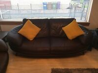 Chocolate Brown Leather Suite For Sale
