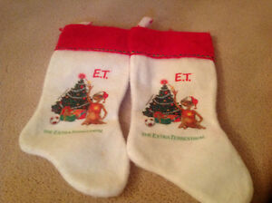 2 Collectable ET Christmas Stockings-1982