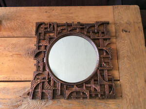 Mid Century Brutalist Coppercraft Guild Copper Toned Mirror