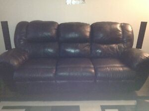 Black leather reclining couch St. John's Newfoundland image 1