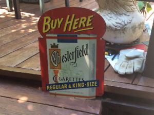 "Antique ""BUY HERE CHESTERFIELD CIGARETTES"" tin flange !"