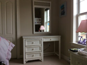 White Wicker  Desk and Mirror