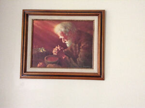 """Framed reproduction painting of """"Giving Thanks, the praying man"""