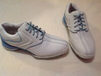 Like new, ladies Callaway, Pale blue and white, golf shoes, size 3.5