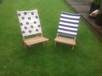 Nautical Spots and Stripes Beach/Camping Chairs/Back Rests /Deckchairs