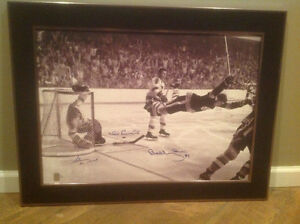 "Bobby Orr Triple Signed and Framed Canvas Print of ""The Goal"""