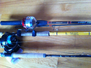 fly fishing rod, fly fishing tie kit and fishing rods