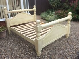 Solid Wood King Size Bed Frame in French Cream