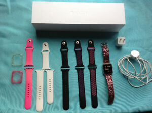 **APPLE WATCH**IMPECCABLE**SILVER ALUMINIUM**6 BRACELETS INCLUS*