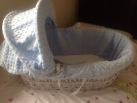 White wicker Moses basket with stand and mattress