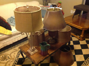 Solid maple coffee table, lamps and pottery