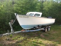 boat motor and trailer, 20 foot boat