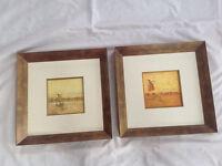 2 Roy Edwards prints in brushed gold frames