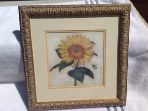 """Set of FOUR Framed Pictures with """"Flowers"""" Motif"""