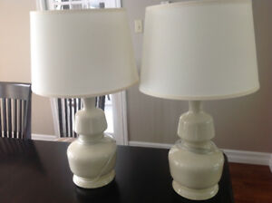 Pair of beautiful cream colored lamps