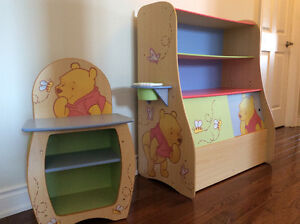Winnie the Pooh Toy Chest with Shelves and Side Table -$50 (set)